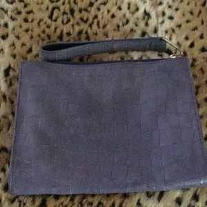 Talbots neutral blue croc-embossed leather clutch